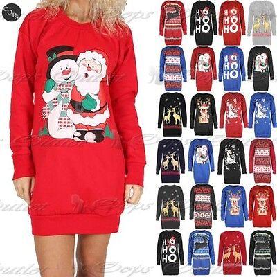 NEU Damen Rudolph Pom Pom Weihnachten gestrickt lang Pullover Uk8-14