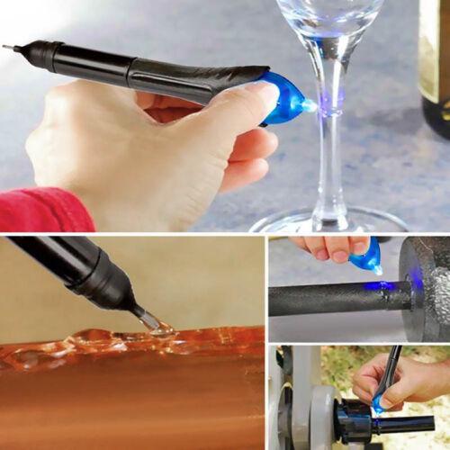 Black UV-Licht Fix Flüssigglas Schweißverbindung Kleber Reparaturen Pen Gif J3A7