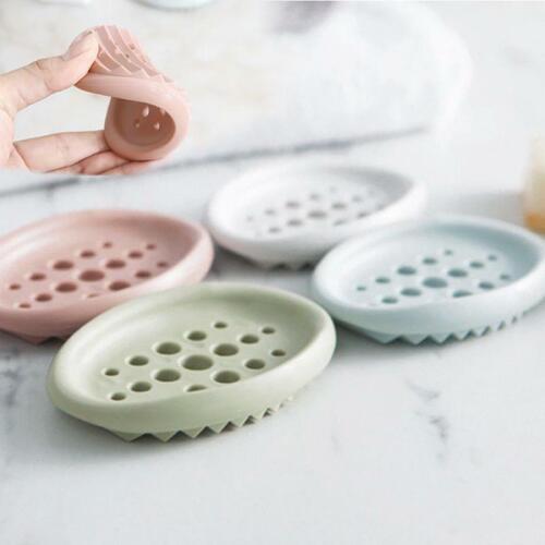 Silicone Bathroom Accessories Soap Dish Storage Holder Tray Drain Soap Holder H