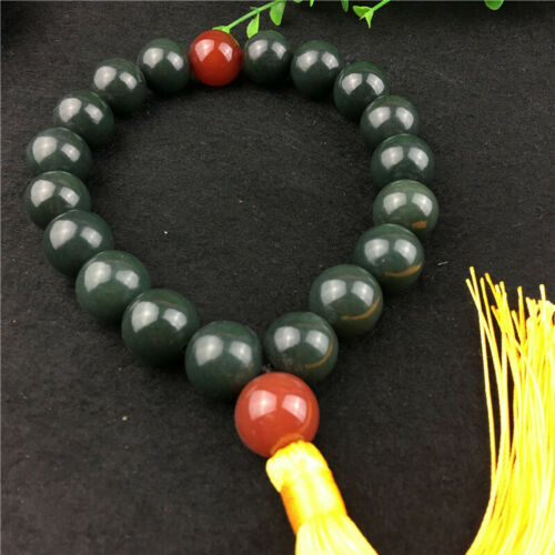 China Hand Carved Natural Hetian Jade Blue Jade Bracelet 18 Bead jade Bracelet