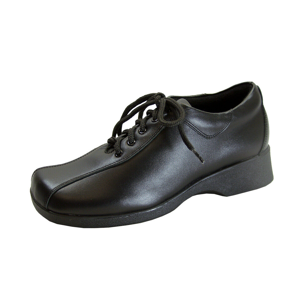 24 HOUR COMFORT Caprice Wide Width Leather Lace-Up Shoes BLACK 8.5