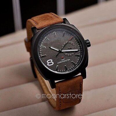 Casual Men's Watches Sport Men Military Leather Strap Quartz Wrist Watch