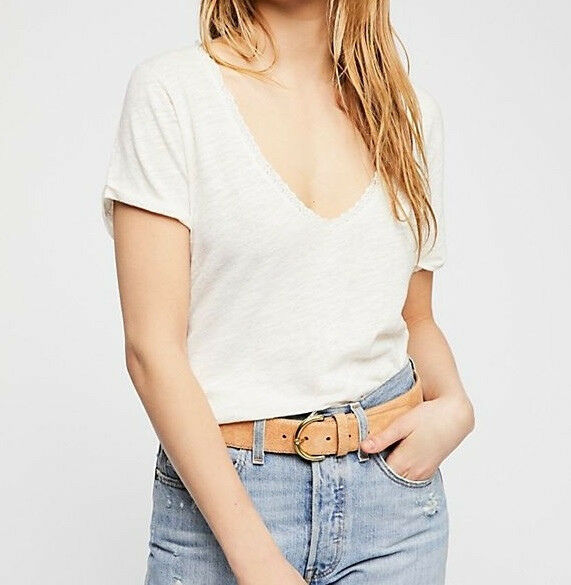 Free People Womens Saturday OB778743 Tee Lace Trip Ivory Beige Size XS