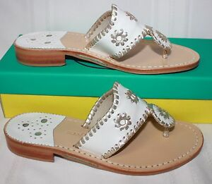 848438bf661e Jack Rogers Hamptons Navajo Women s Sandals white platinum New With ...