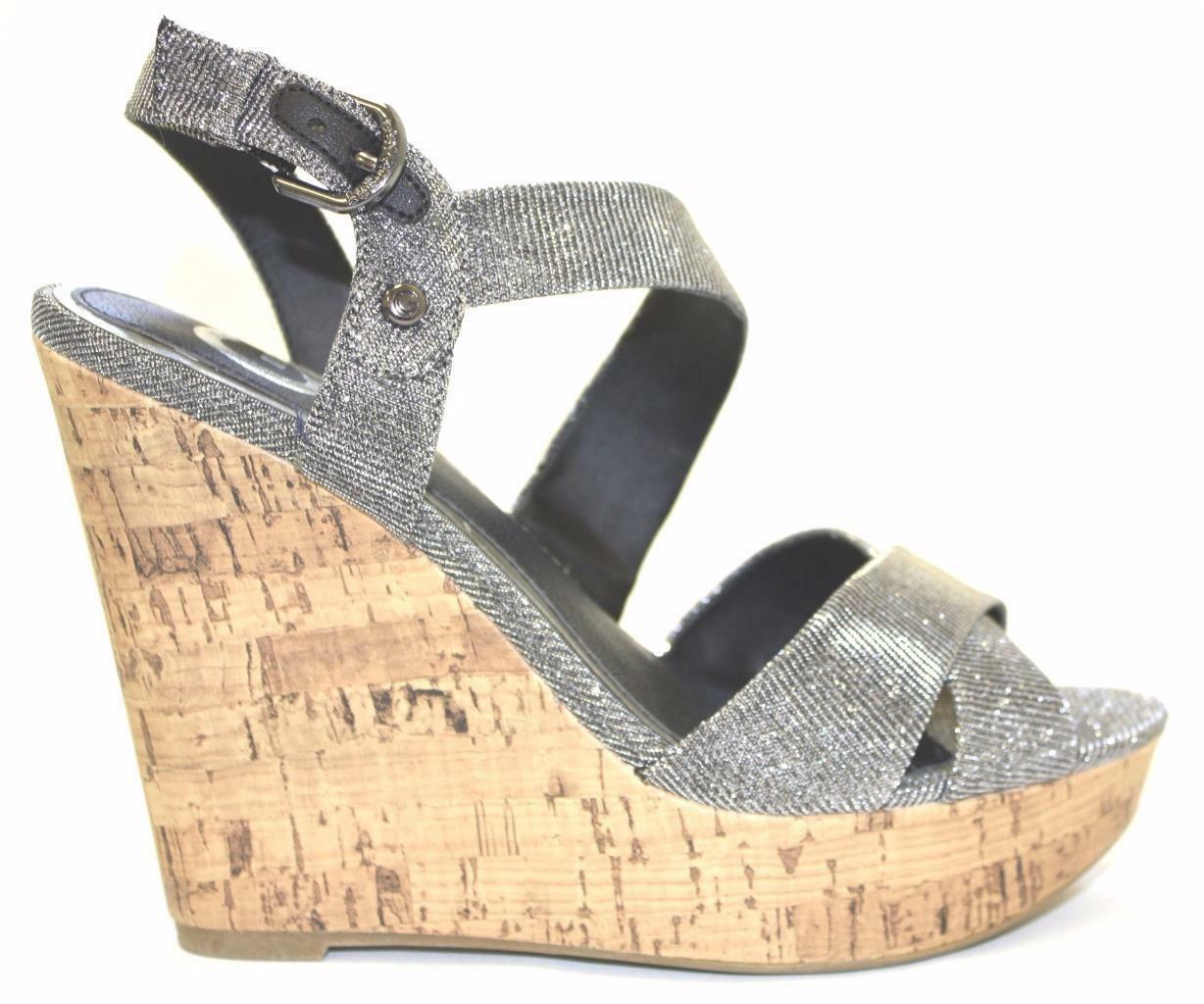 Women's G by by by GUESS ELSIE Crisscross Wedge Sandals Textile Metallic Silver 148cfe