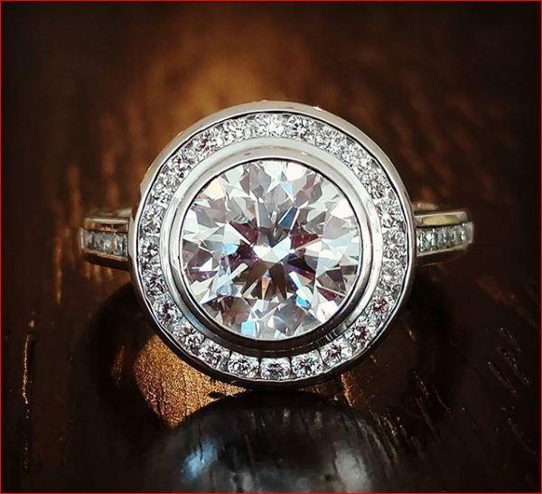 Bezel Set Halo Moissanite Ring 1.50Ct Round White Engagement Ring 14k White gold