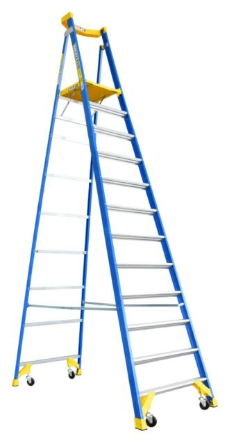 BAILEY P170 Job Station Fibreglass Platform Ladder 12 Steps 15ft/12ft  4.6m/3.5m