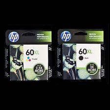 HP 60XL TRI-COLOR + BLACK COMBO CC644WN CC641WN 2 New Boxes 60 XL Ink Cartridges