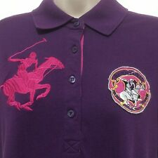Beverly Hills Polo Club Top Purple Lg Pink Polo Rider Cotton Blend SS Womens 2X