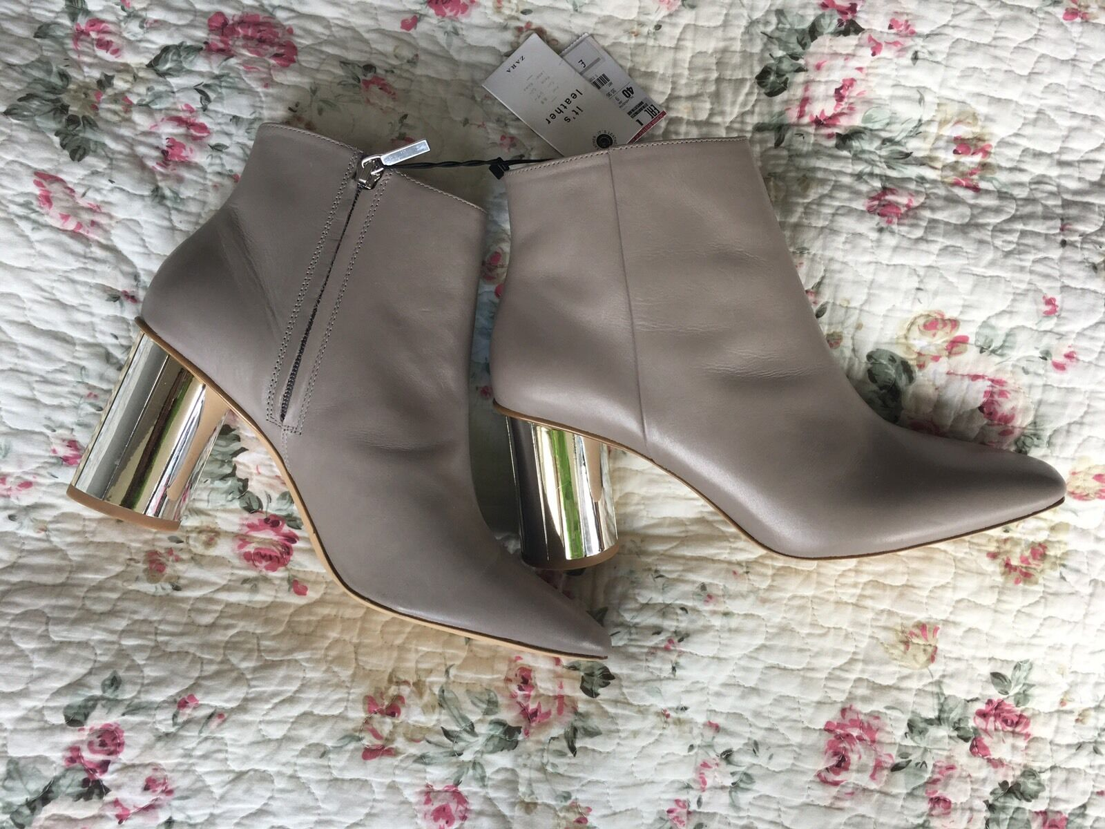 New Zara 100% Leather Taupe Nude Ankle Boots Mirror Chunky Heels Size Rare