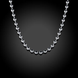 Mens Womens 925 Sterling Silver 2mm Thick Beads Ball Chain Neckllace ... 6f4723e11