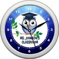 Personalized Owl Teacher Classroom Wall Clock Teacher Lounge Gift