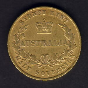 Australia-1856-Sydney-Mint-Half-Sovereign-aVF-F-Trace-Lustre-Ex-RBA
