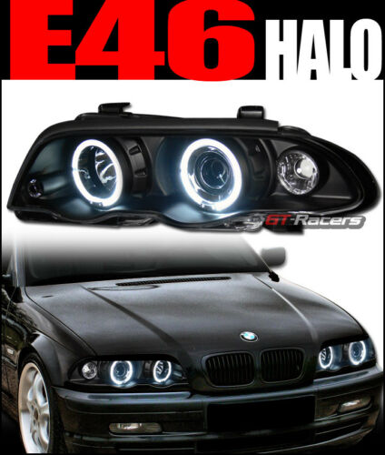 For 1999-2001 Bmw E46 4Dr Blk Halo Projector Headlights+Signal Corner Lamps 1Pc
