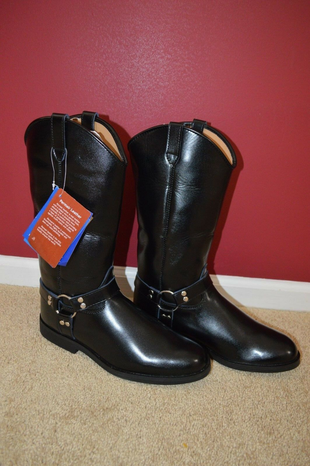 Men's Hispar Engineer Motorcycle Cowboy Roper Riding boots brand new ( 34)