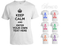 KEEP CALM PERSONALISED CUSTOM  YOUR TEXT UNISEX MENS WOMENS TSHIRT T SHIRT