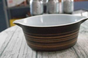 VINTAGE PYREX TERRA BLACK BROWN STRIPE #475-B ROUND BAKING/CASS DISH