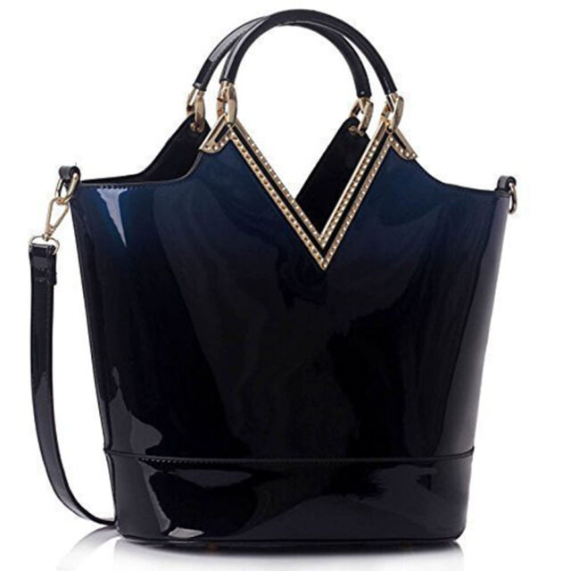 Womens Handbags Ladies Shoulder Tote DESIGNER Bags Faux Leather Large Navy  Patent Bag 6f2b85a6a092c