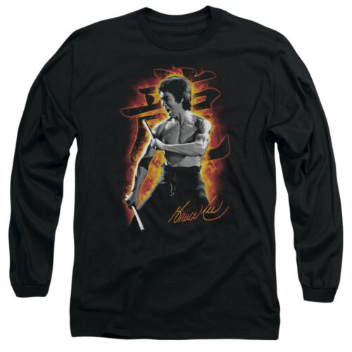 Bruce Lee DRAGON FIRE Licensed Adult Long Sleeve T-Shirt S-3XL