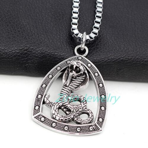 Egyptian Snake Cobra Stainless Steel Pendant Amulet Box Chain Men/'s Necklace