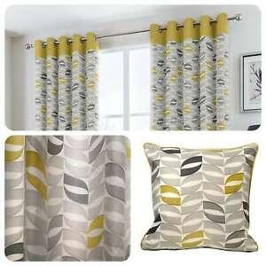 Fusion-COPELAND-Ochre-Geometric-100-Cotton-Eyelet-Curtains-amp-Cushions