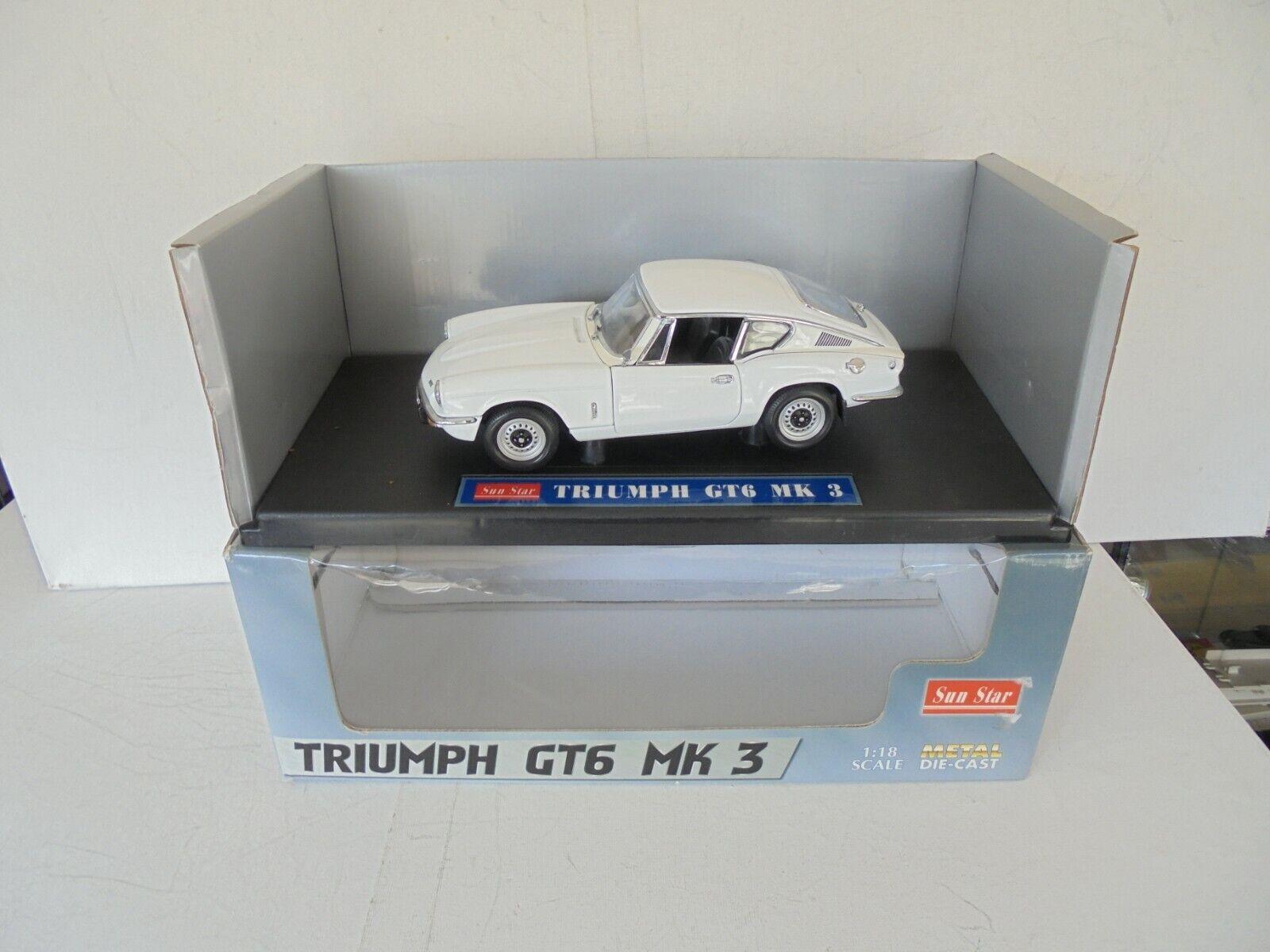 barato y de moda SunEstrella 1 18 Scale Diecast - - - 1057 Triumph GT6 MK3 blanco N Mint  IN box  ventas al por mayor