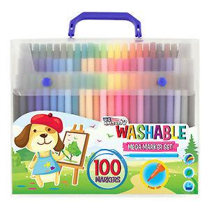 Childrens 100 Count Washable Felt Tip Marker Pens Fine Tip Bold Colors Kids Art