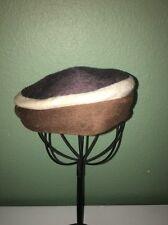 Vintage Brown White Black Women's Hat Made By Hazel
