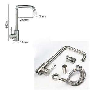 Stainless Steel Kitchen Sink Faucet Swivel Spout Deck Mounted One Hole Mixer Tap