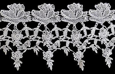 "Unotrim 5.25"" White Venise Vintage Guipure Victorian Flower Lace Trim By Yard"