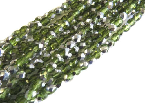 4mm Czech fire Polished 150 Beads Olivine Silver Czeh faceted Beads