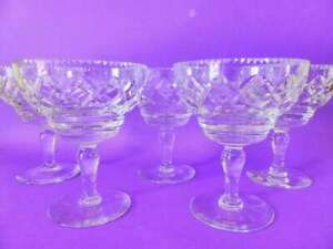 Vintage-Webb-amp-Corbett-Crystal-Dessert-Cups-Set-of-5-Footed-Ice-Cream-Dishes
