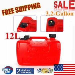 Portable Boat Fuel Tank 3.2 Gallon 12L Marine Outboard Fuel Tank W/ Connector US