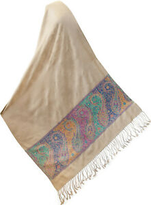 Beige-Scarf-with-Purple-Pink-Blue-Accent-Silk-Indian-Jamavar-Shawl-Jamawar-Stole