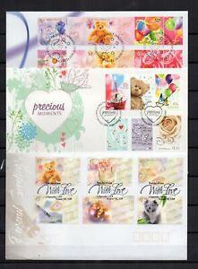 AUSTRALIE-NOUNOURS-et-douceurs-Ours-3-series-de-6-timbres-sur-3-FDC