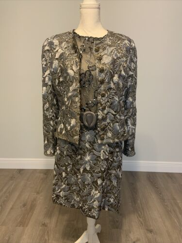 Arnold Scaasi Vintage Couture Silver Lace Dress w… - image 1