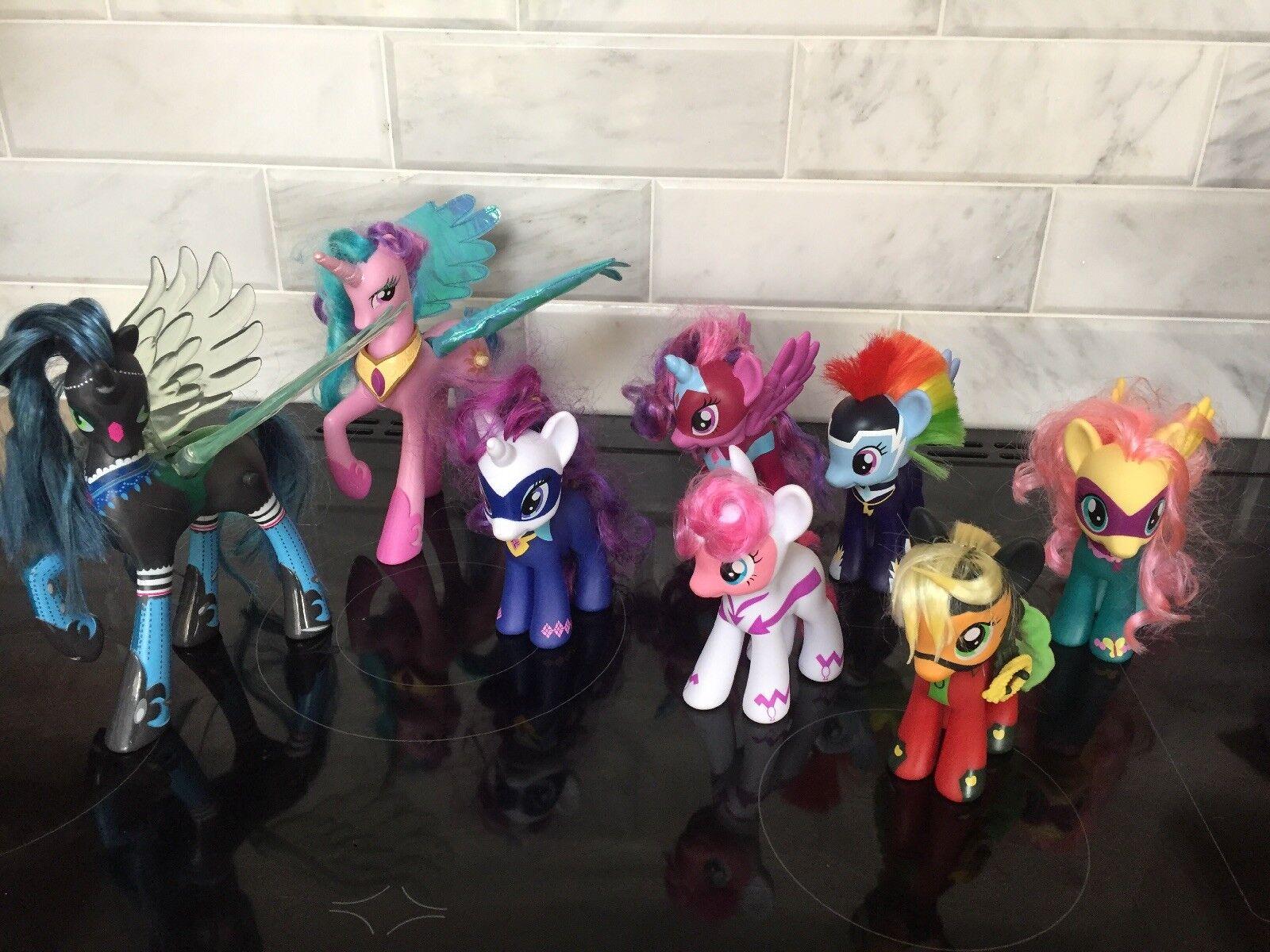 My Little Pony Superhero Ponies Set RARE Talking Queen Chrysalis Celestia Bundle