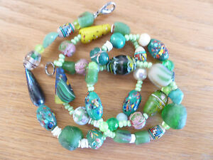 28-034-African-Trade-Bead-Necklace-E-Venetian-Spatter-Conical-Clam-Shell-Greens