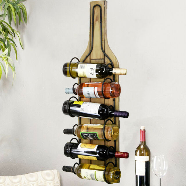 Wooden Wall Mounted Wine Rack Bottle Holder Display Storage Natural