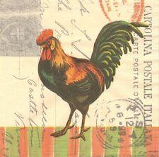 2 Serviettes papier Coq Gaulois Decoupage Paper Napkins Rooster