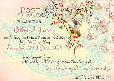 PERSONALISED PHOTO SUMMER RUSTIC VINTAGE POSTCARD WEDDING INVITATIONS PACKSOF10