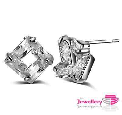 925 Sterling Silver 4 Crystal Square Stud Earrings Jewellery Womens Ladies