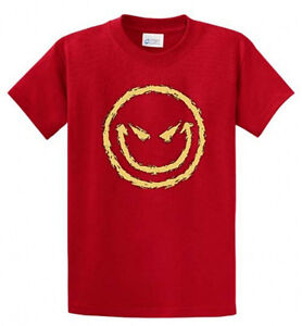 Smiley printed tee shirt novelty shirt for men in regular for Big and tall rock t shirts
