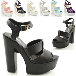 WOMENS-CUT-OUT-CHUNKY-SANDALS-LADIES-CLEATED-HIGH-HEEL-PLATFORM-SHOES-SIZE-3-8