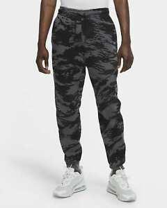 NIKE Men Tech Fleece Printed Camo Joggers Black Grey CU4497 068 - Sz Medium