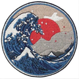 Embroidered-Patches-Iron-Sew-On-Patch-transfers-Badge-applique-Wave-off-Kanagawa