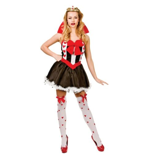 Adult QUEEN OF HEARTS Fancy Dress Costume Alice Wonderland Ladies UK Sizes 6-20