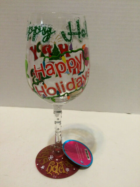 Wine Glass by Lolita Hand Painted Happy Holidays NEW 15 Ounce with gift box