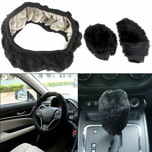 3tlg-Auto-Lenkradschoner-Fellbezug-handbremse-abdeckung-Schaltabdeckung-schwarz