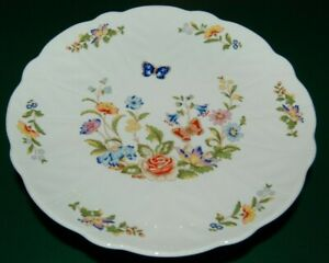 Aynsley 10 English Bone China Cottage Garden Footed Cake Plate Stand Butterfly Ebay
